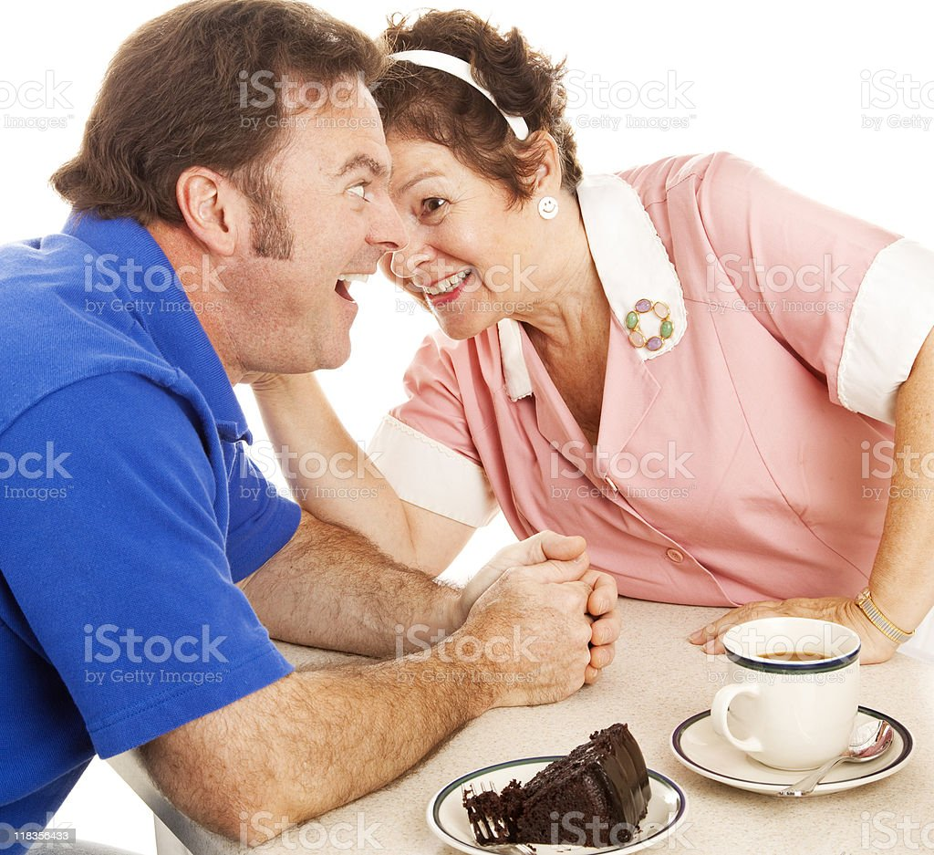 Waitress Gossips with Customer royalty-free stock photo
