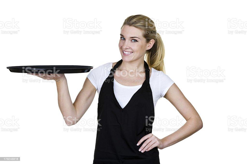 Waitress holding a serving tray royalty-free stock photo