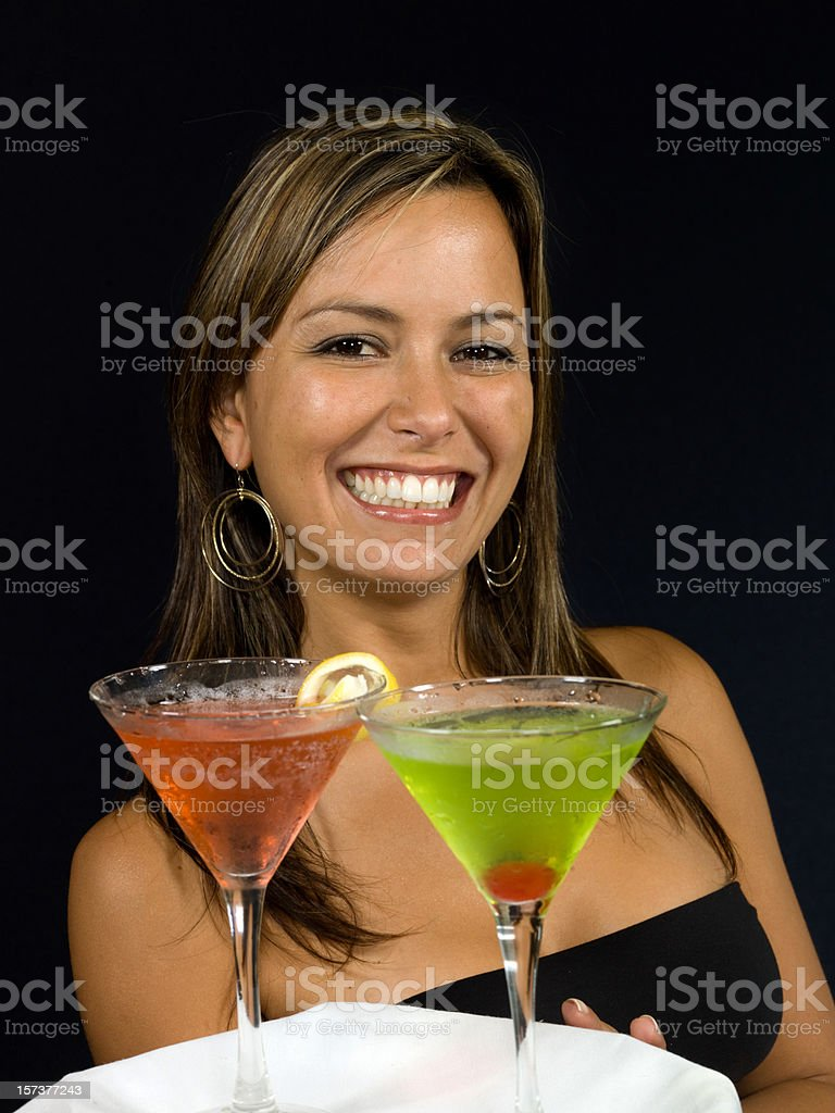 waitress in a cocktail bar stock photo