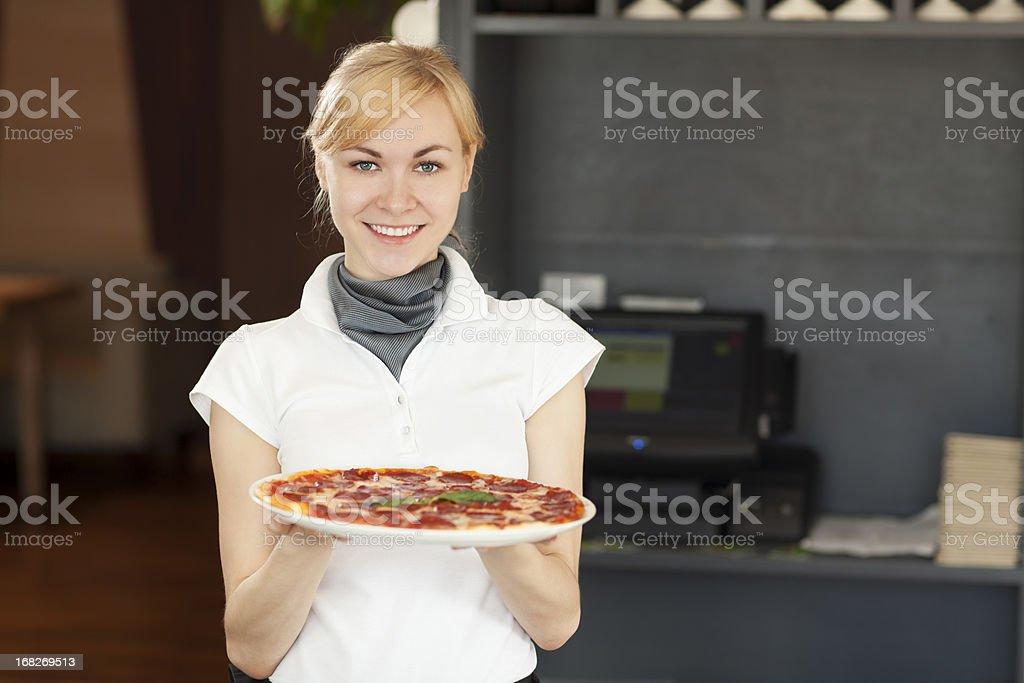 Waitress in a Restaurant royalty-free stock photo