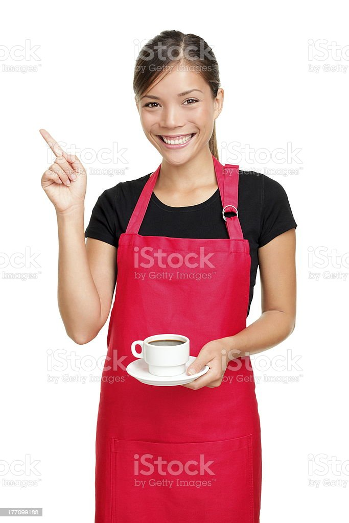 Waitress pointing holding coffee royalty-free stock photo