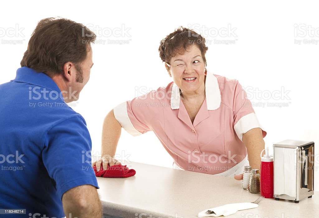 Waitress - Wink and a Smile royalty-free stock photo