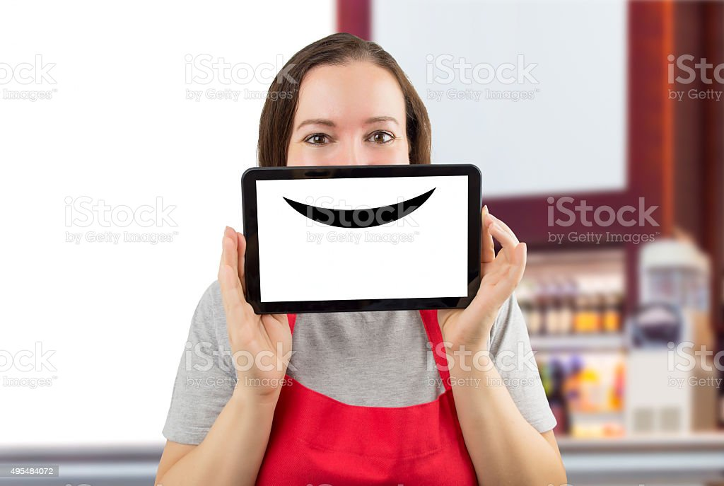waitress with a virtual smile at the coffee shop stock photo