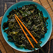 Wakame salad, raw seaweed, Japanese cuisine.