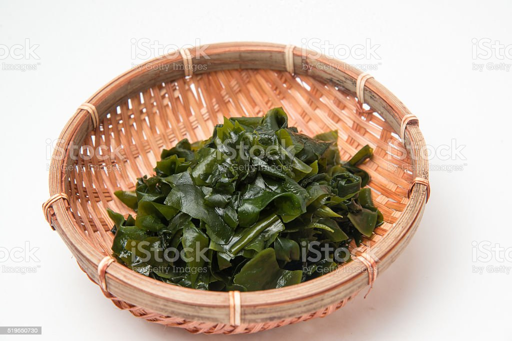 wakame sea weed stock photo