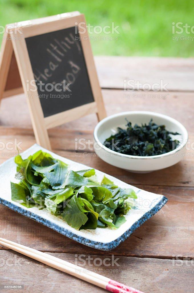 Wakame seaweed/Japanese food stock photo