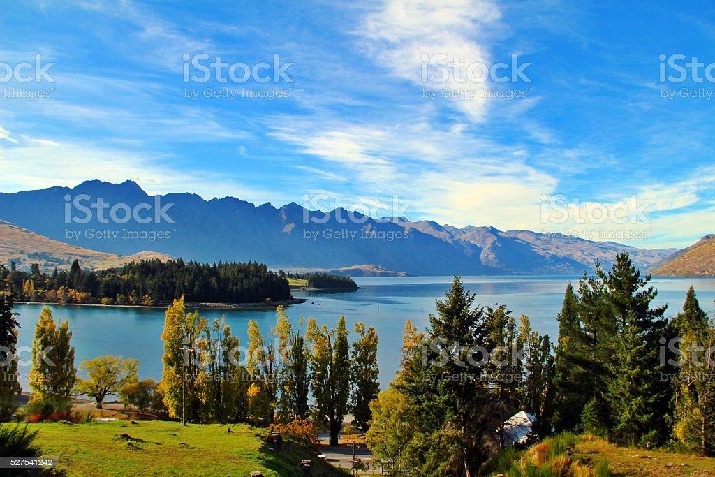 Wakatipu lake in Queenstown stock photo