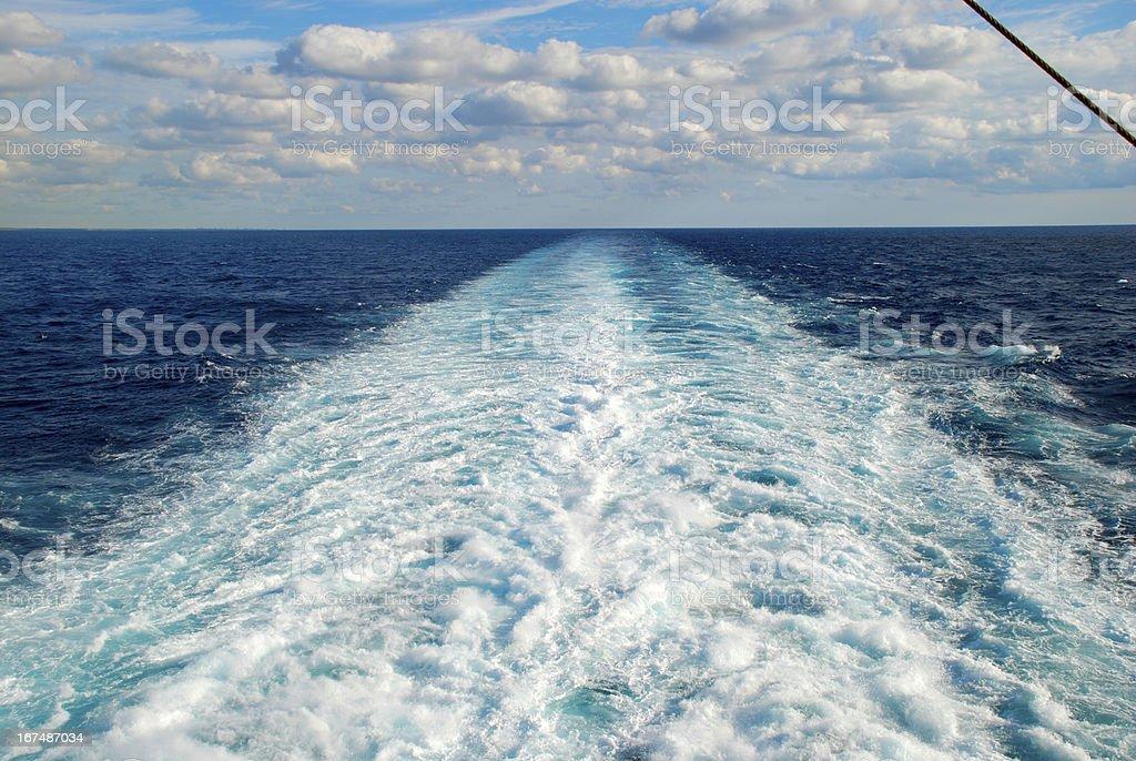 wake at sea royalty-free stock photo