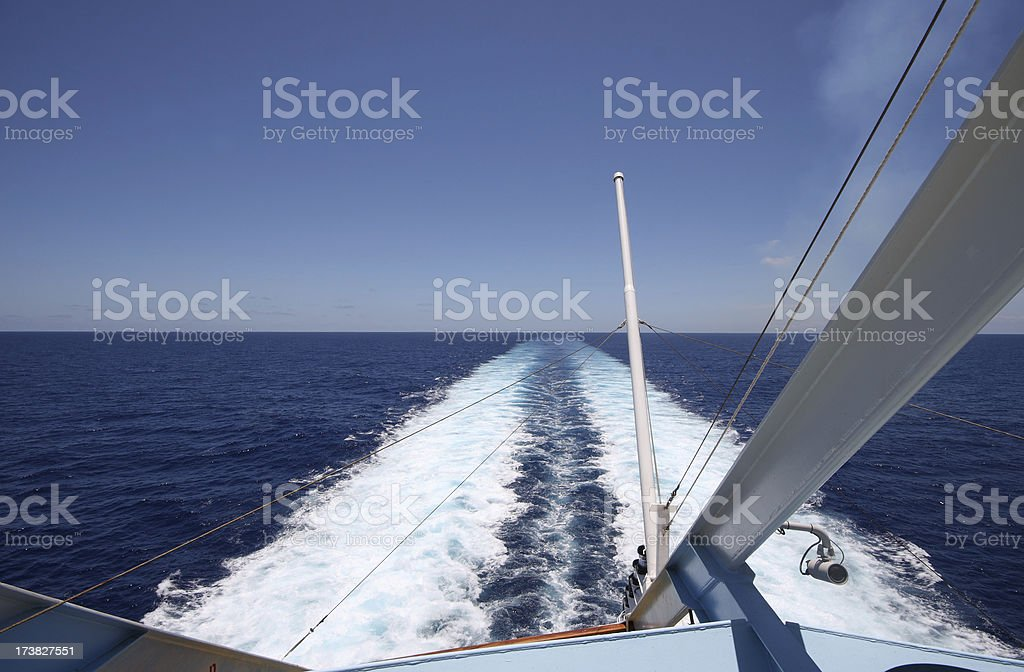 Wake Behind Cruise Ship royalty-free stock photo
