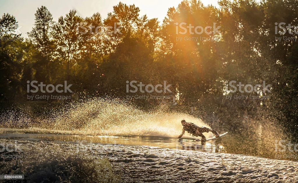 Wake boarding stock photo