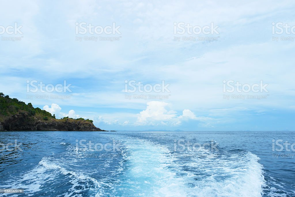 Wake caused by cruise ship. stock photo