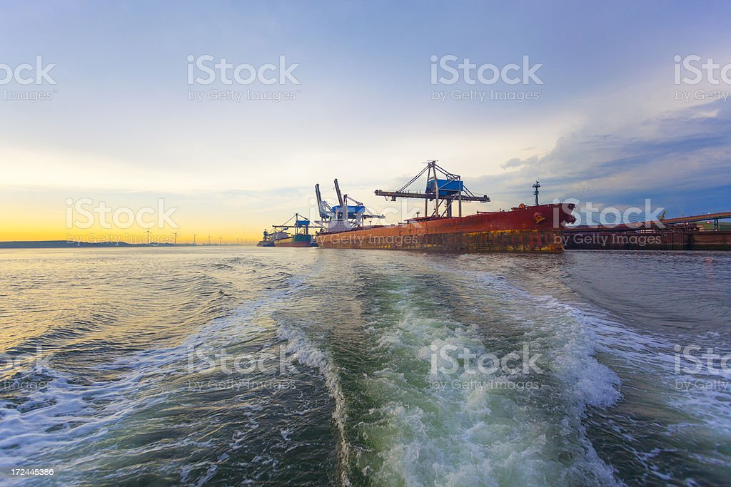 Wake, industry and ships royalty-free stock photo