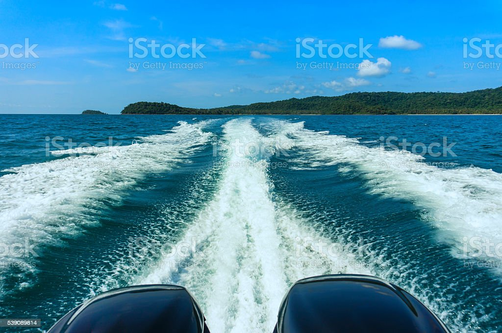 Wake of a ferry boat. stock photo