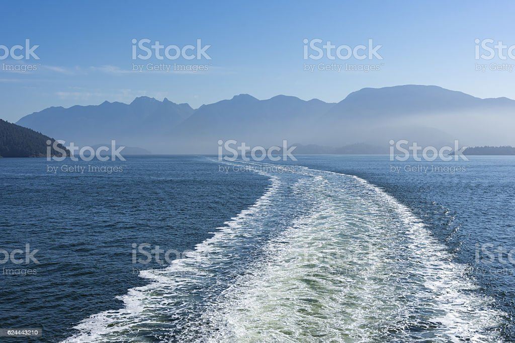 Wake of a Ferry to Vancouver Island stock photo