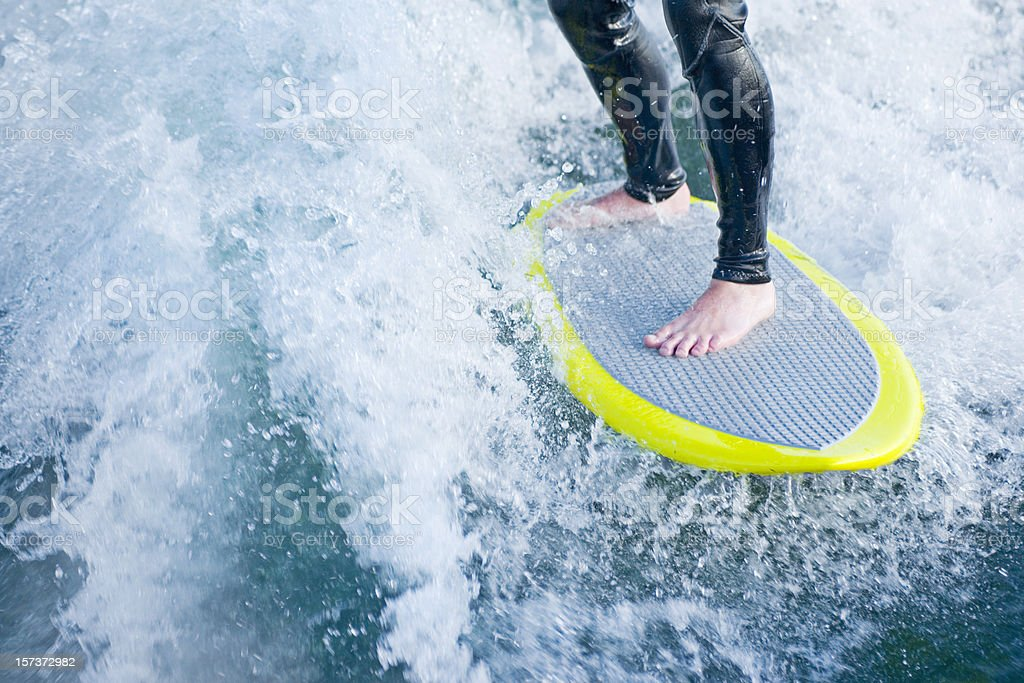 Wake Surfer's board and feet stock photo