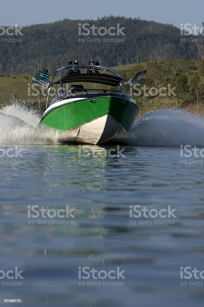 Wakeboard boat on lake stock photo