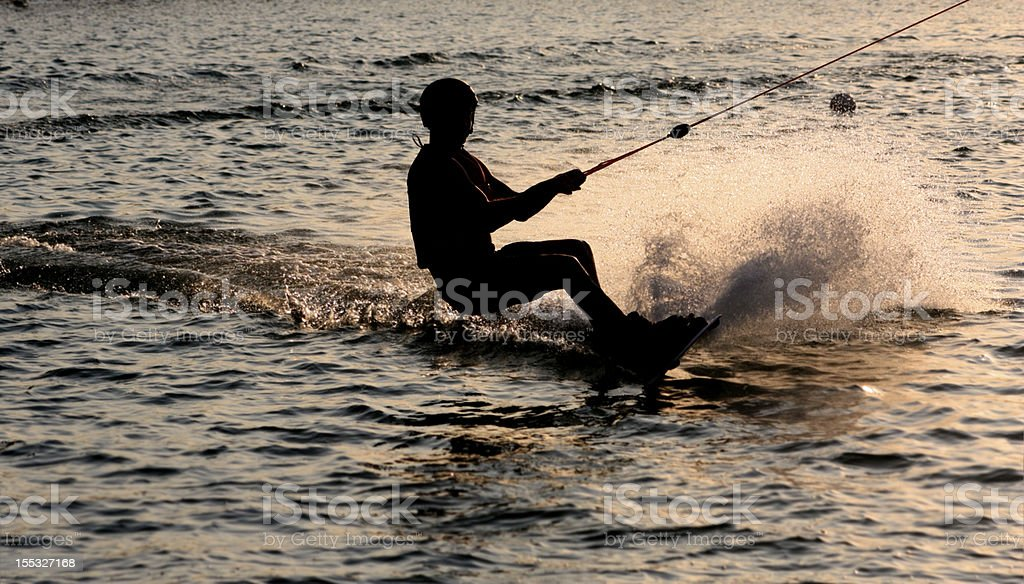 wakeboard in dusk royalty-free stock photo