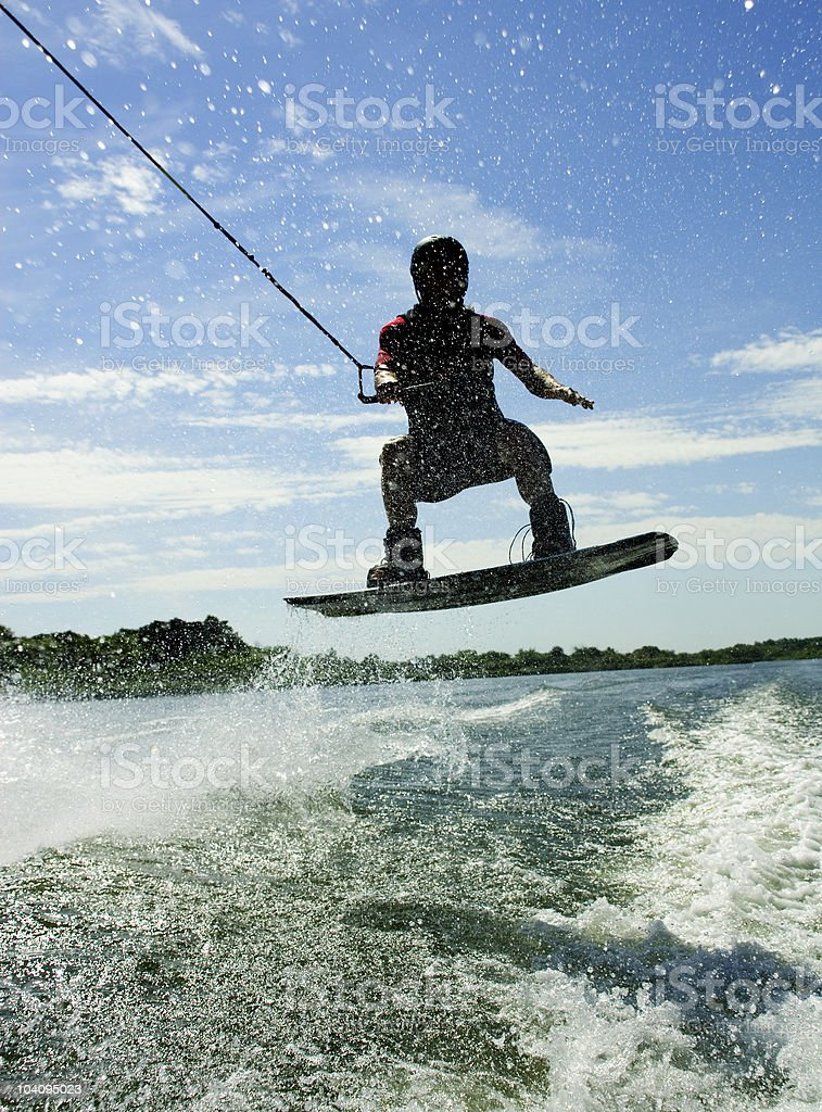 Wakeboard jump with shadow royalty-free stock photo