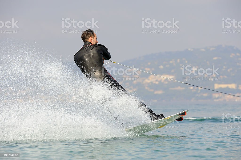 Wakeboarder at French Riviera royalty-free stock photo