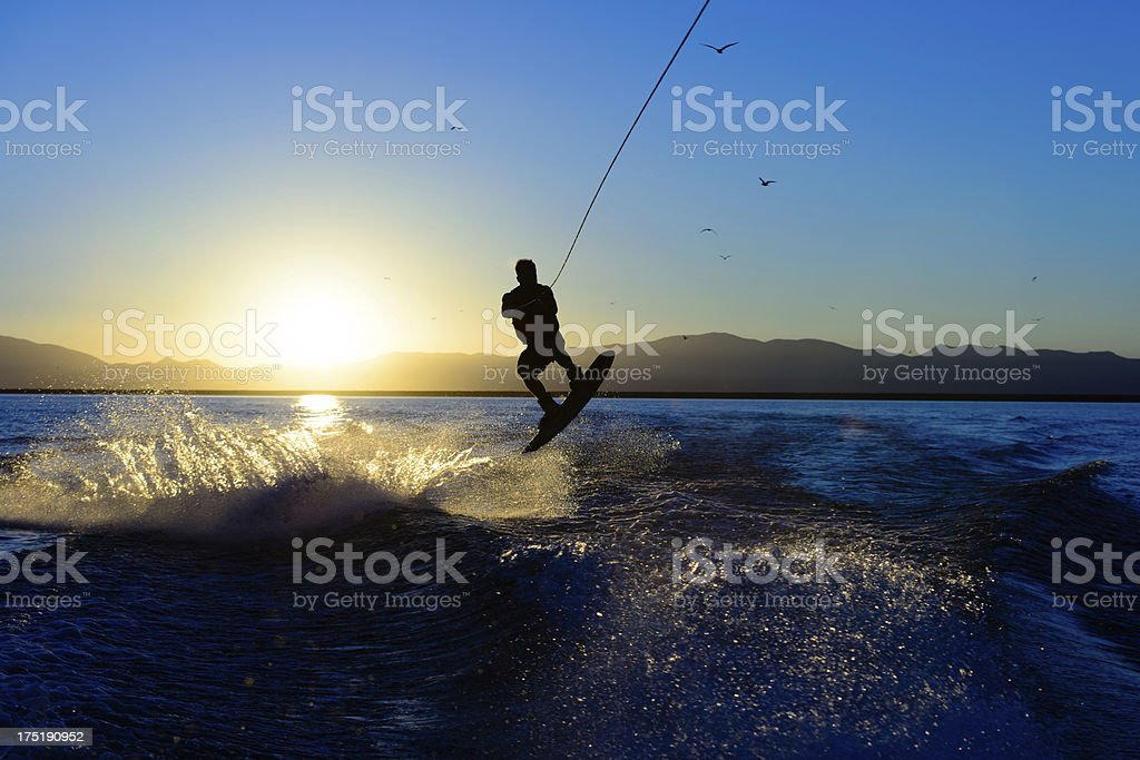 Wakeboarder at Sunset stock photo