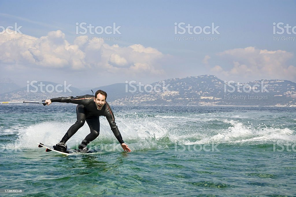 Wakeboarder at the Cote D'Azur royalty-free stock photo