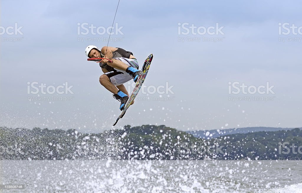 Wakeboarder Jumping High stock photo