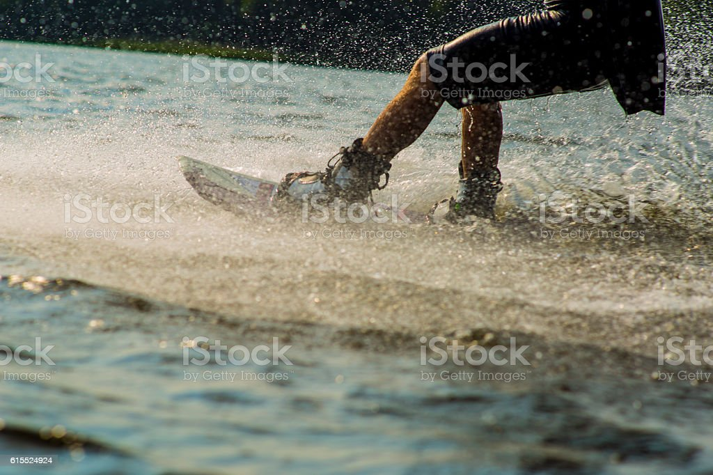Wakeboarder trans in a cable park stock photo