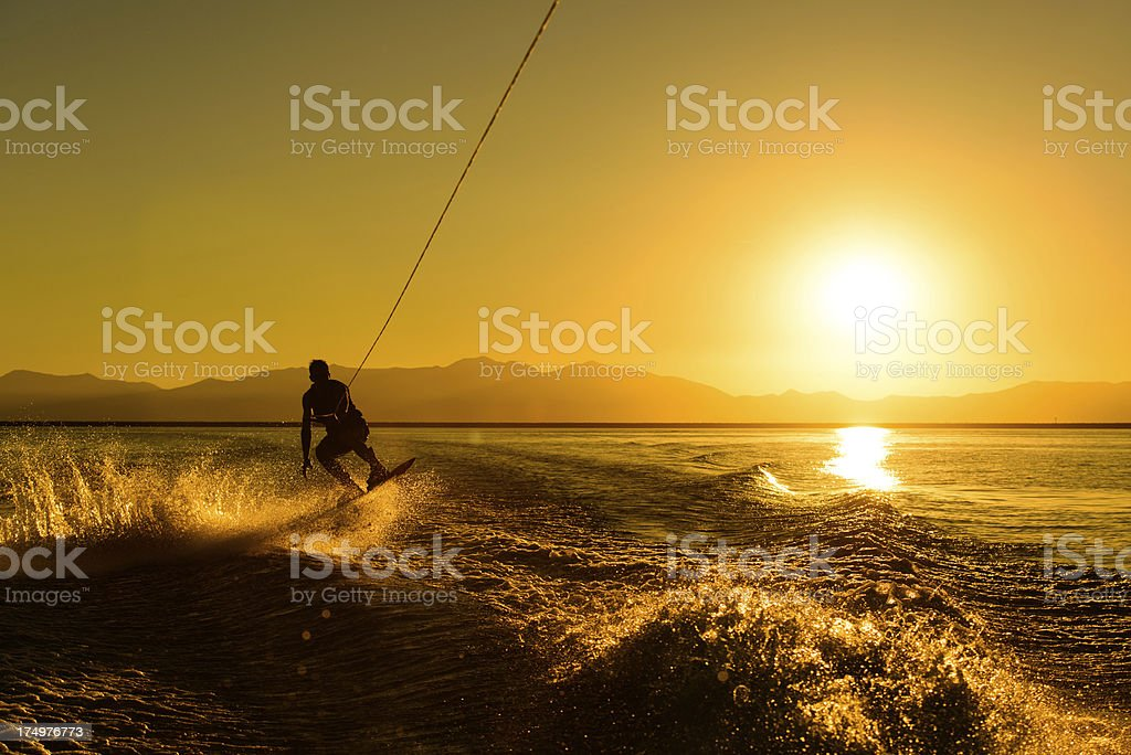 Wakeboarding at Sunset stock photo