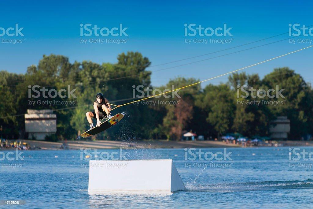 Wakeboarding big air stunt royalty-free stock photo