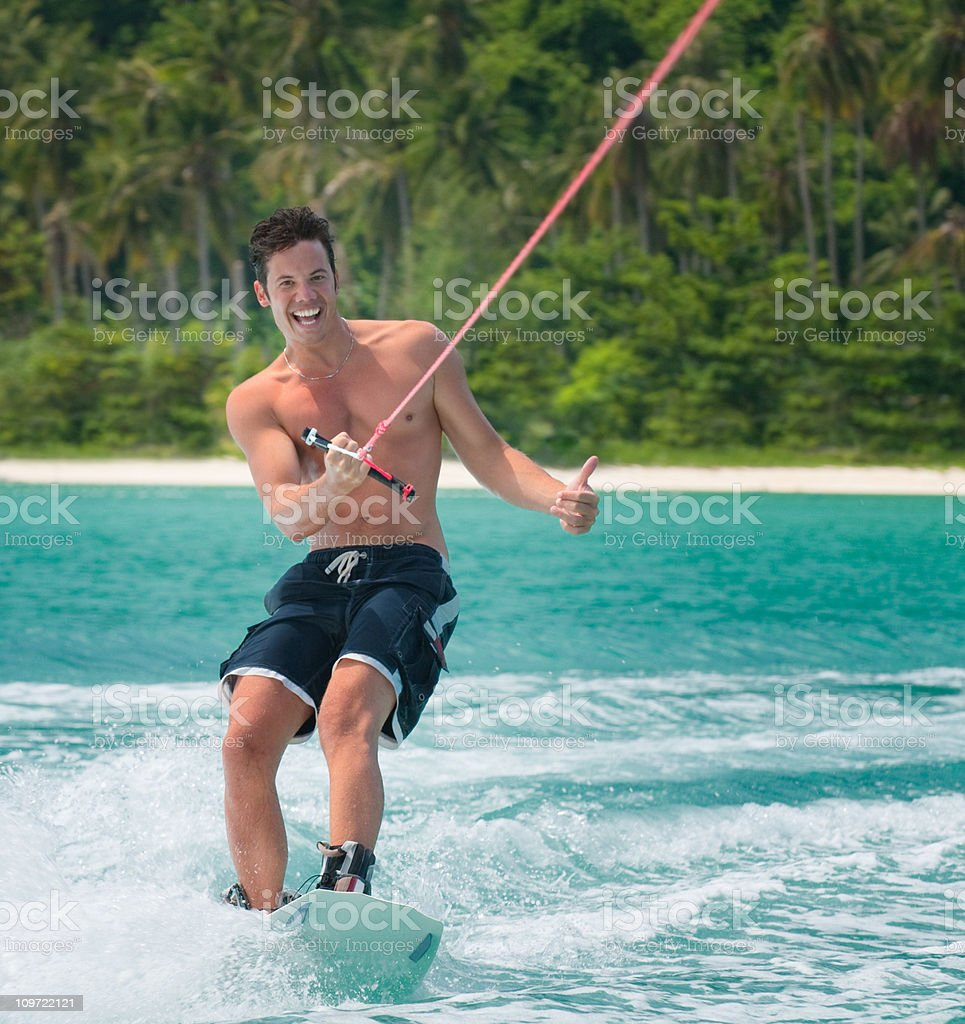 Wakeboarding on tropical Waters royalty-free stock photo