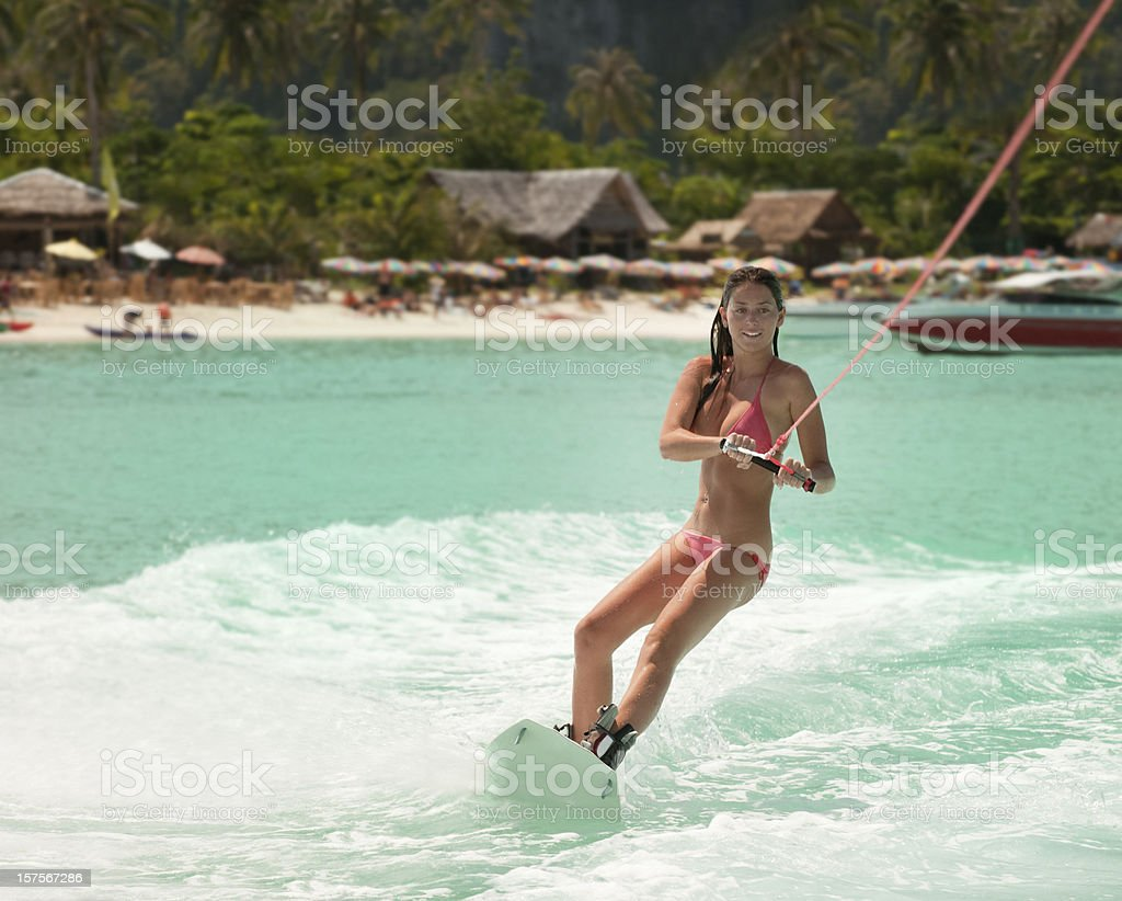 Wakeboarding on tropical Waters (XXXL) stock photo