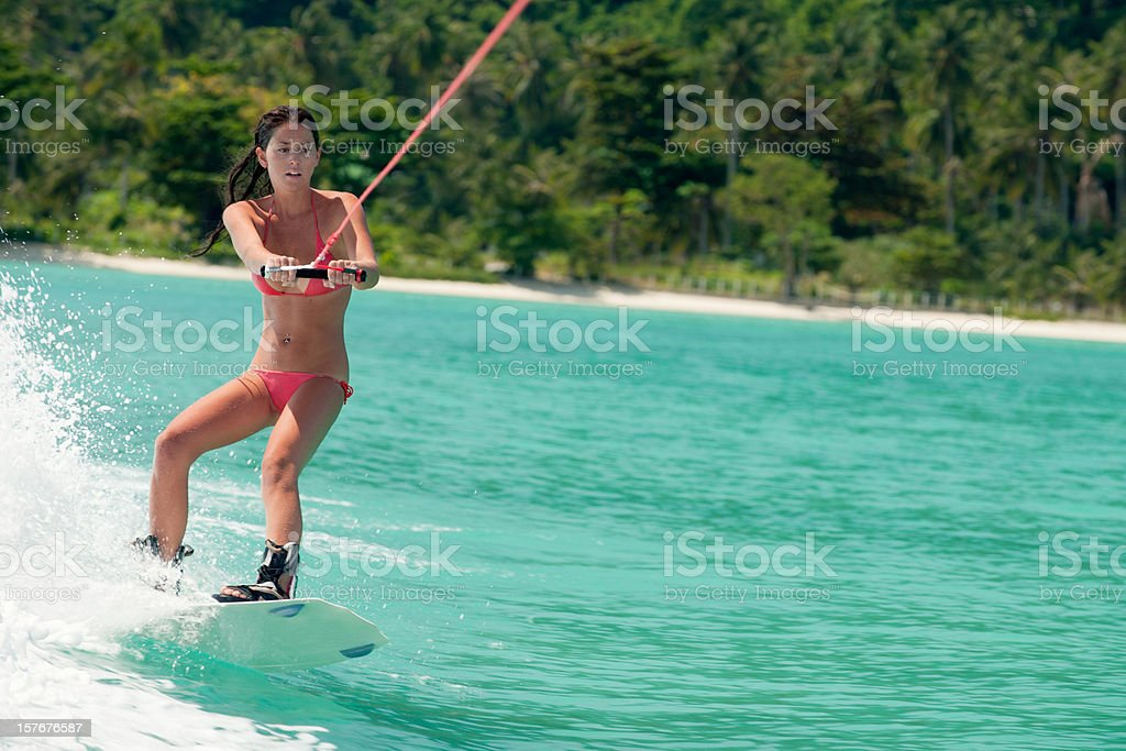 Wakeboarding on tropical Waters (XXXL) royalty-free stock photo