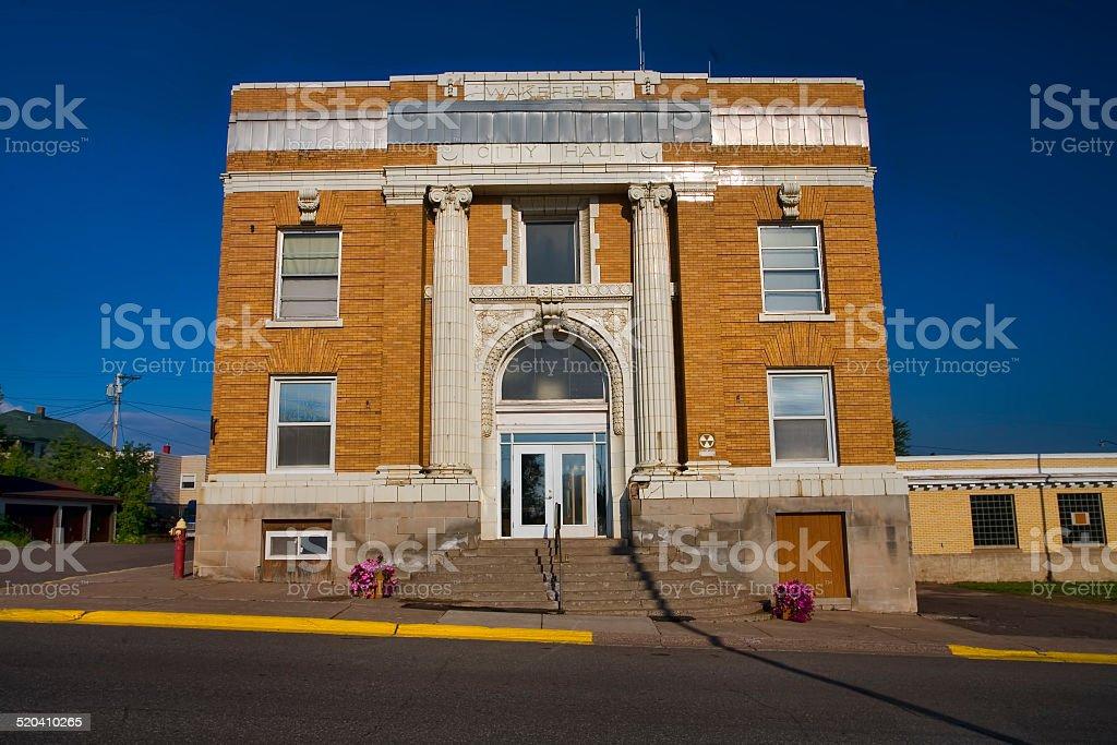 Wakefield City Hall - Michigan stock photo