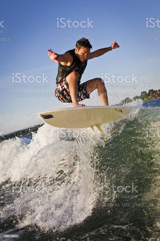 Wakesurfing action stock photo