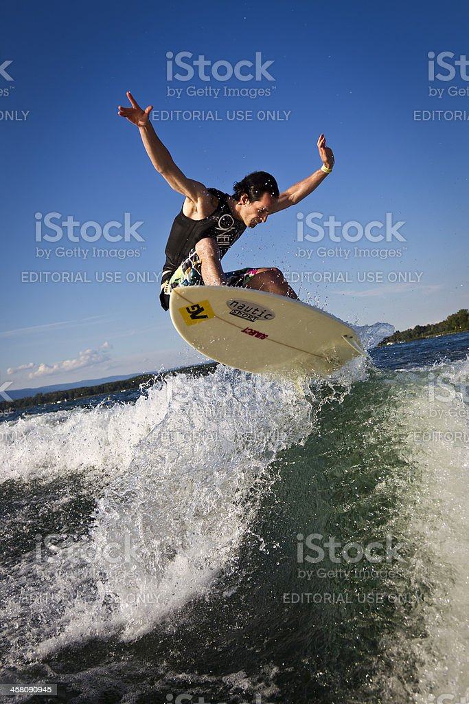 Wakesurfing action stock photo