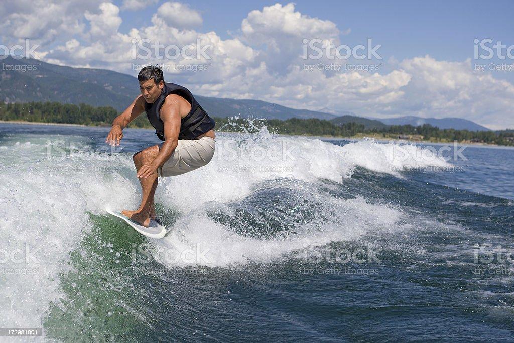 Wakesurfing in Sandpoint, Idaho royalty-free stock photo