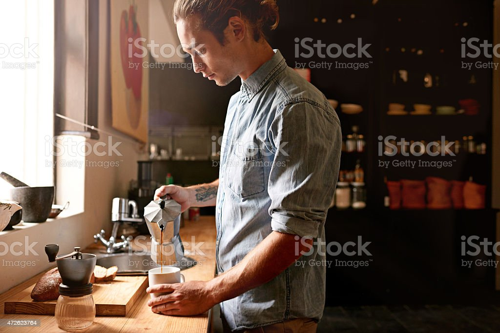 Waking up with a fresh cup stock photo