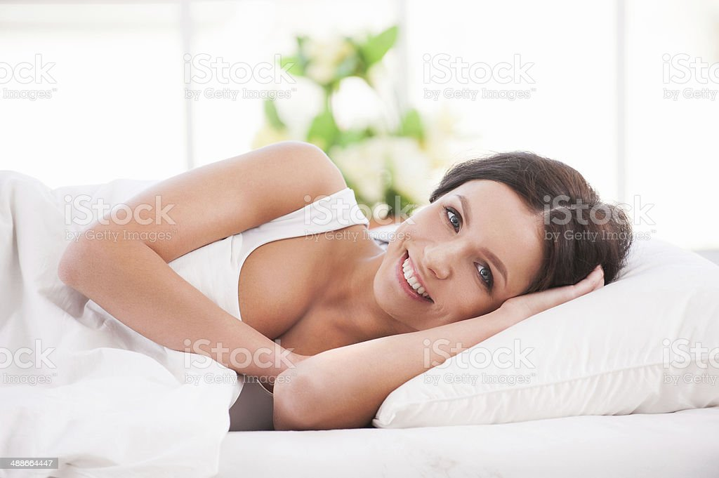 Waking up with smile. stock photo