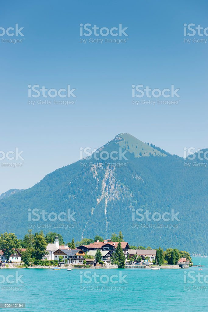 Walchensee and Jochberg stock photo