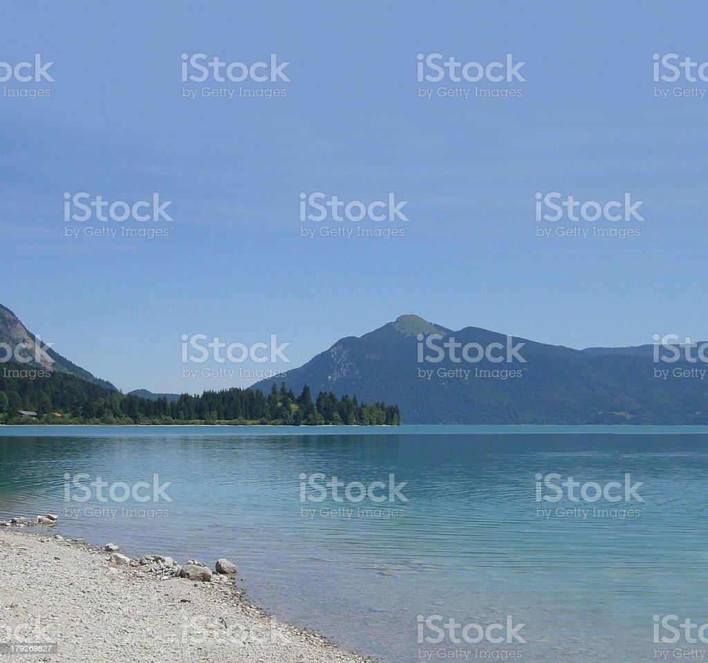 Walchensee in den bayrischen Alpen stock photo