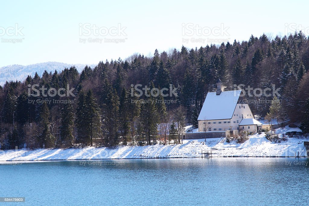 Walchensee Lake in Bavaria Germany covered in snow stock photo