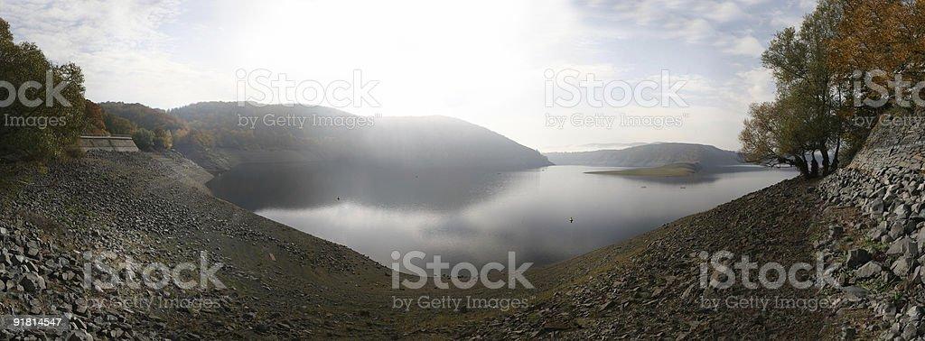 Waldecker Bucht, Edersee in Nordhessen bei Niedrigwasser stock photo