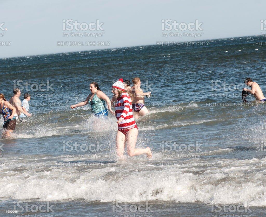 Waldo Woman in Polar Bear Plunge stock photo