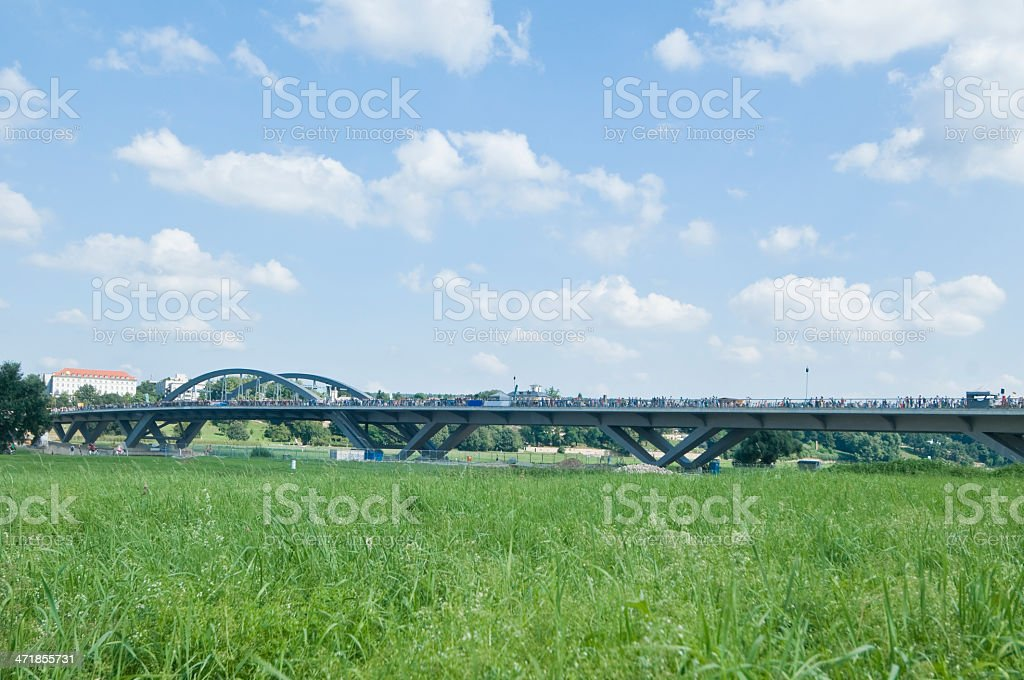Waldschlösschenbrücke in Dresden (Germany) during the opening, August 24, 2013 royalty-free stock photo
