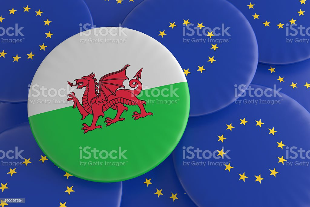 Wales And European Union: Welsh Flag EU Flag Badges, illustration stock photo