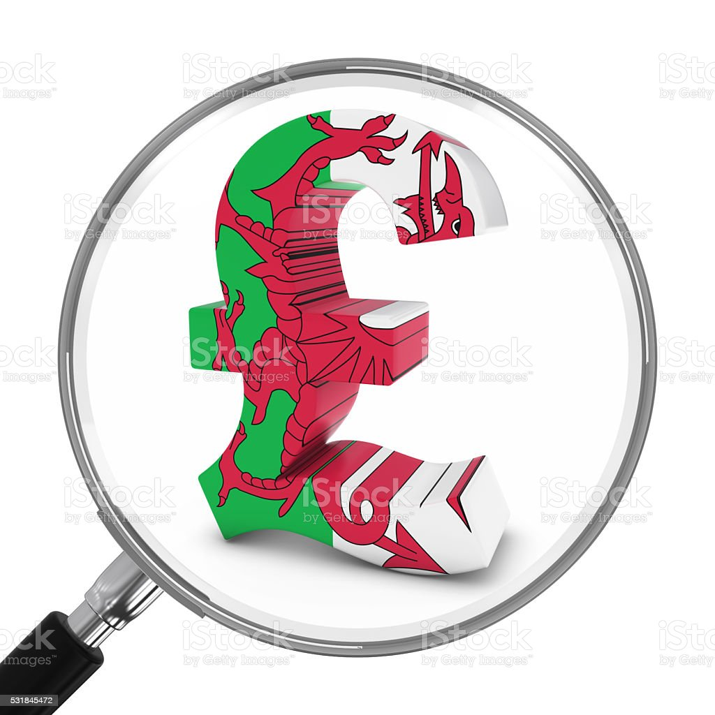 Wales Finance Concept - Welsh Pound Symbol Under Magnifying Glass stock photo