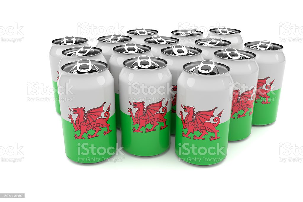 Wales Flag Aluminum Beer Cans Isolated On White Background, illustration stock photo