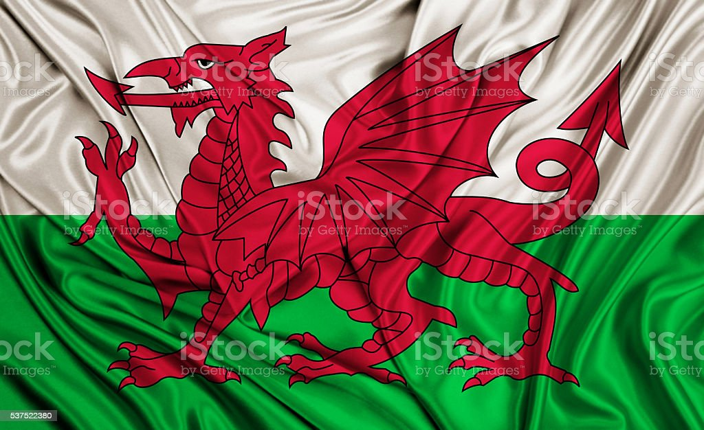 Wales flag - silk texture stock photo