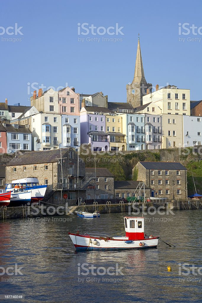 UK, Wales, Pembrokeshire, colourful houses above Tenby harbour stock photo