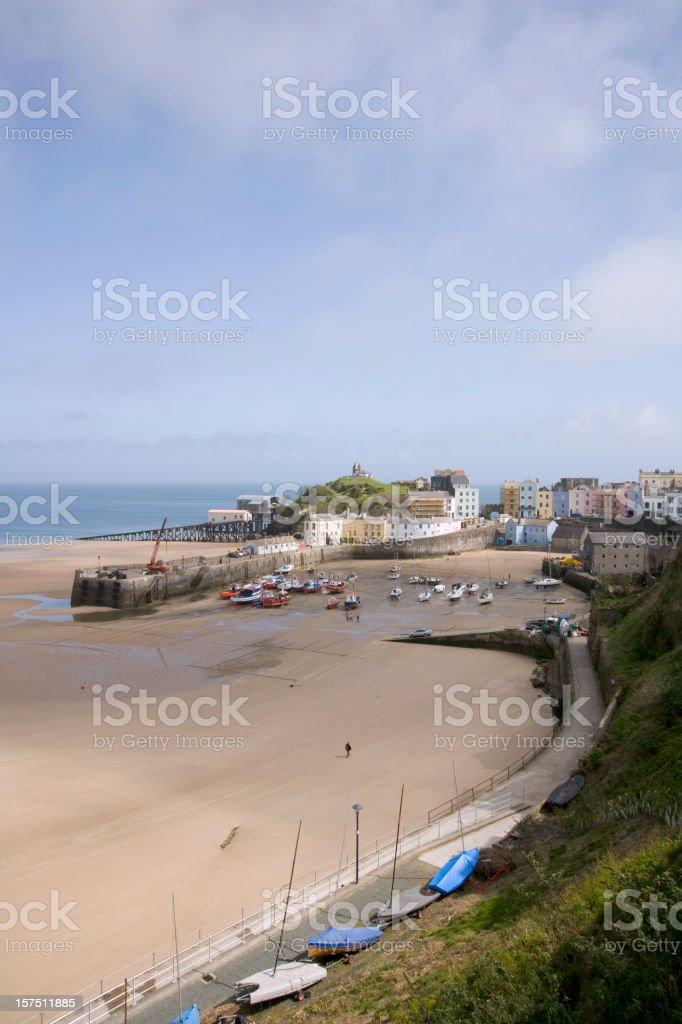 UK, Wales, Pembrokeshire, Tenby, harbour view, low tide stock photo